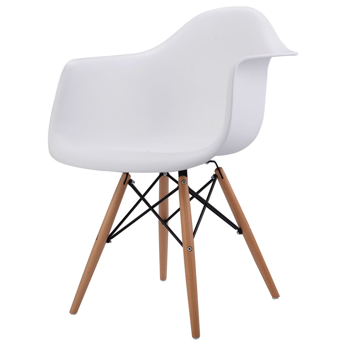 Costway White Modern Molded Plastic Dining Arm Side Chair Wood Legs Free Shipping Today 17126261