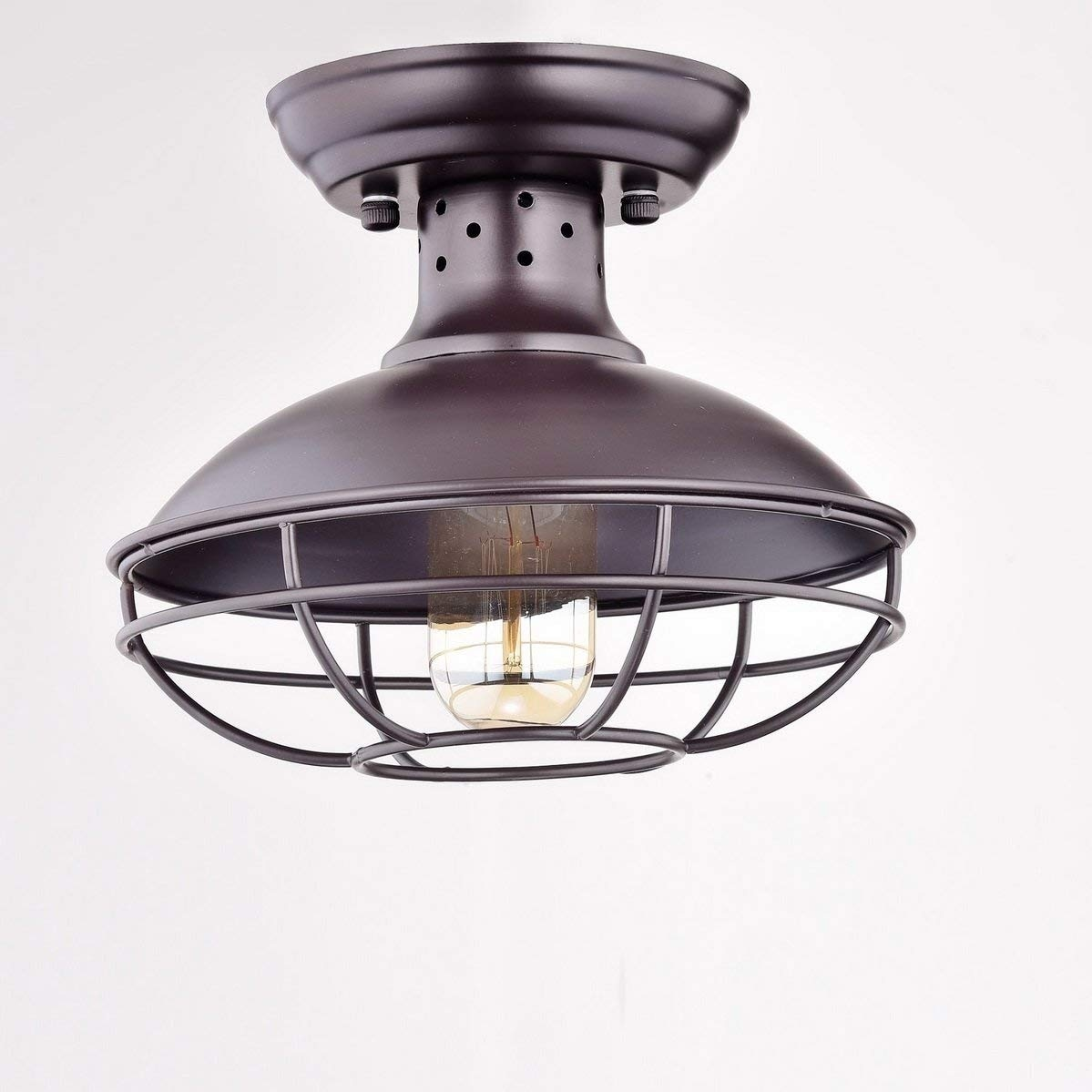 Shop Vintage Industrial Wire Cage Semi Flush Mount Ceiling Light Wiring A New Fixture Bronze Free Shipping Today 24307482