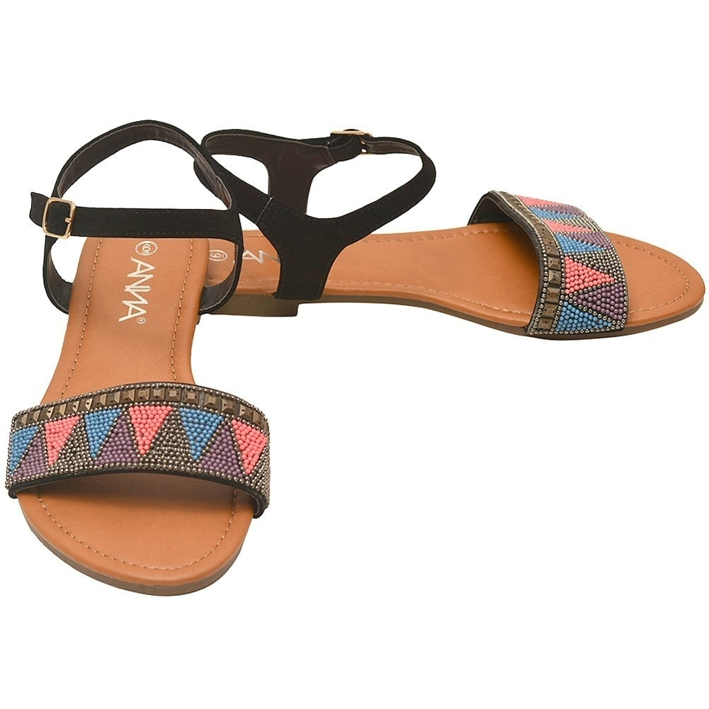 609eb1ba7c2d Shop Anna Adult Black Multi Color Tiny Bead Accent Open Toe Sandals - Free  Shipping On Orders Over  45 - Overstock - 19294133