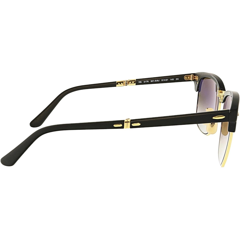 Shop Ray-Ban Gradient Clubmaster Folding RB2176-901S9J-51 Black Sunglasses  - Free 24cb7252e7