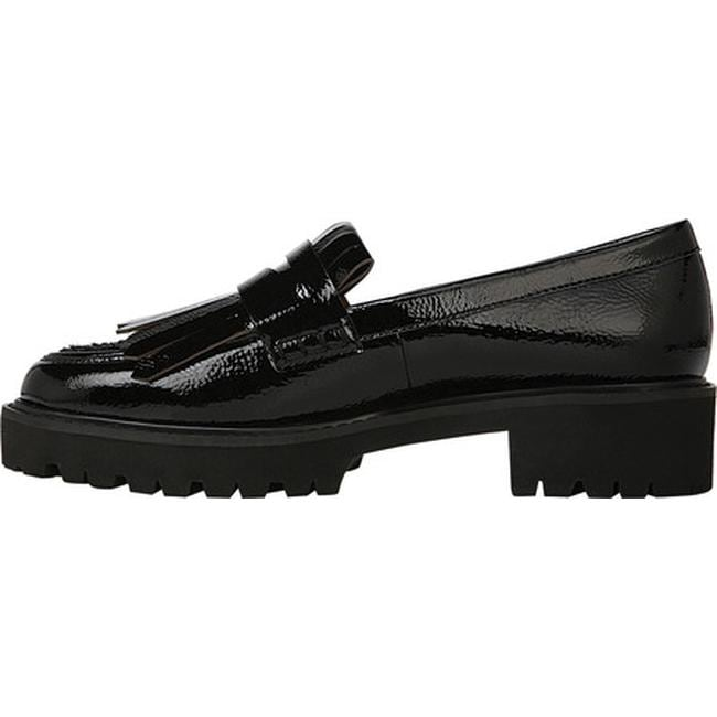 b3b37db2449 Shop Sarto by Franco Sarto Women s Duncan Kiltie Loafer Black Mirage  Crinkle Patent Leather - Free Shipping Today - Overstock - 22865731