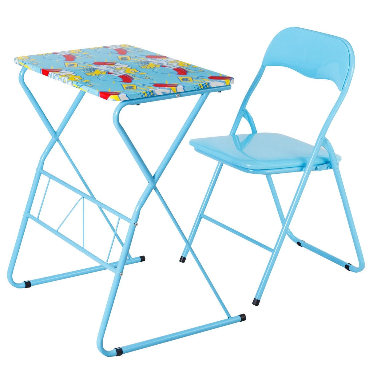 Shop Costway Kids Folding Table Chair Set Study Writing Desk Student