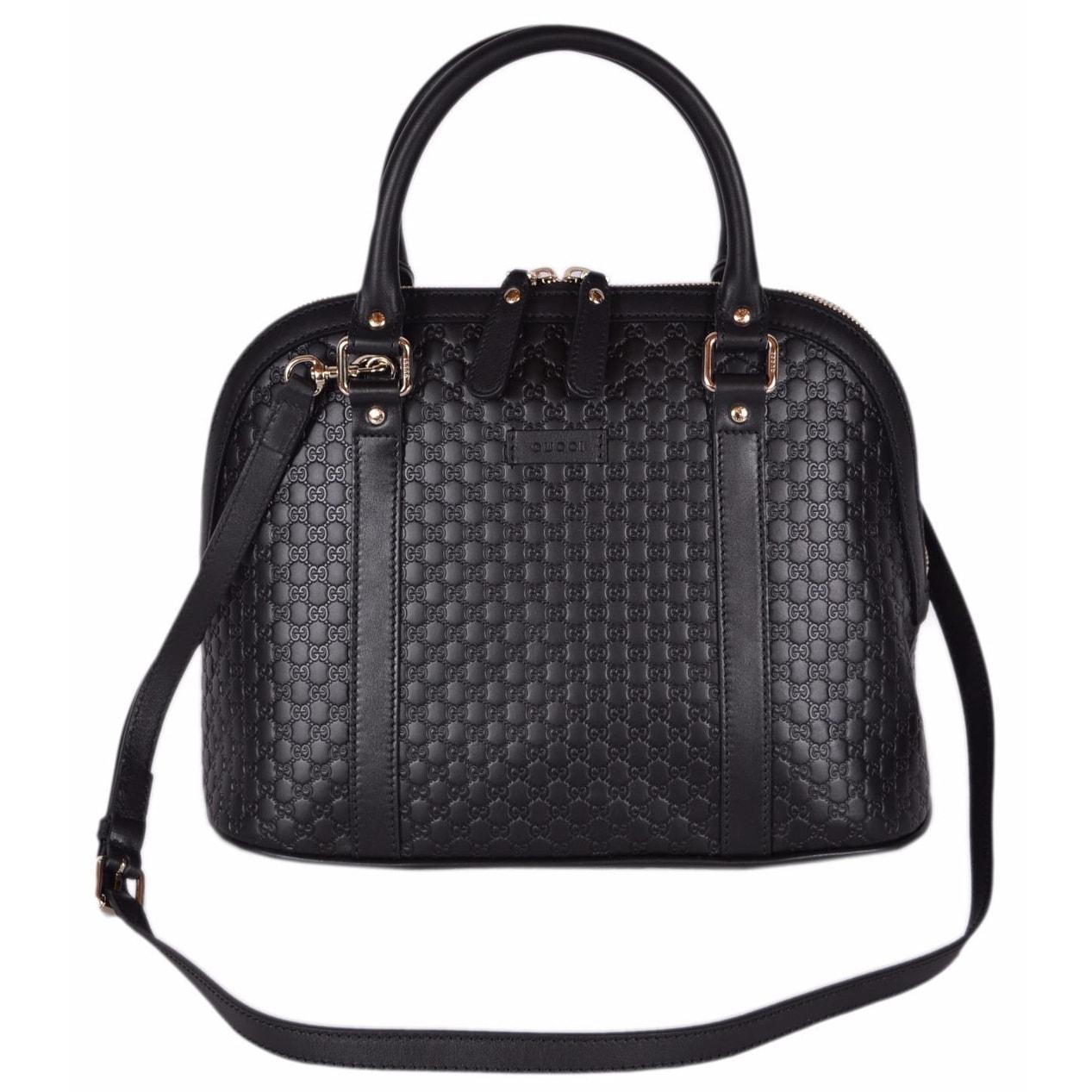 6d7a1ed76 Gucci 449663 Black Leather Medium Convertible Micro GG Dome Satchel Purse -  12