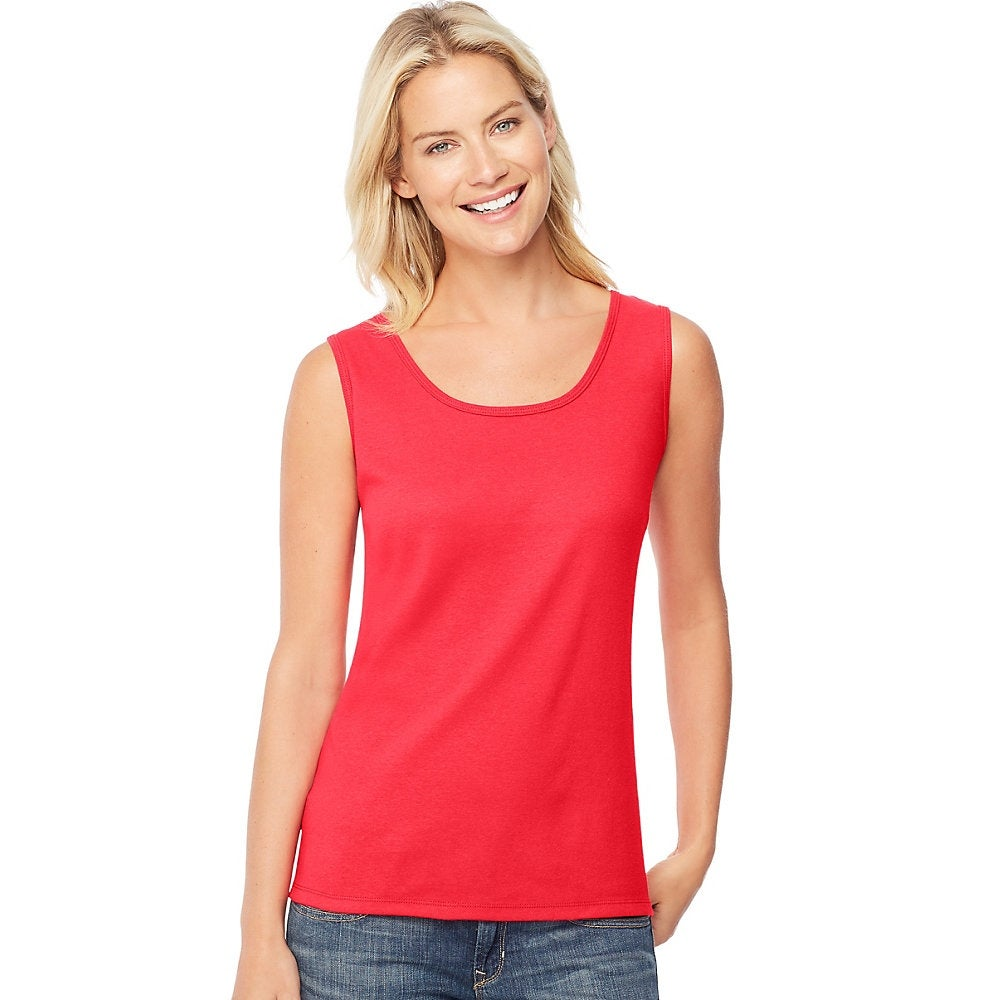 71e7f96af67 Shop Hanes Women s Mini-Ribbed Cotton Tank - Size - M - Color - Red ...