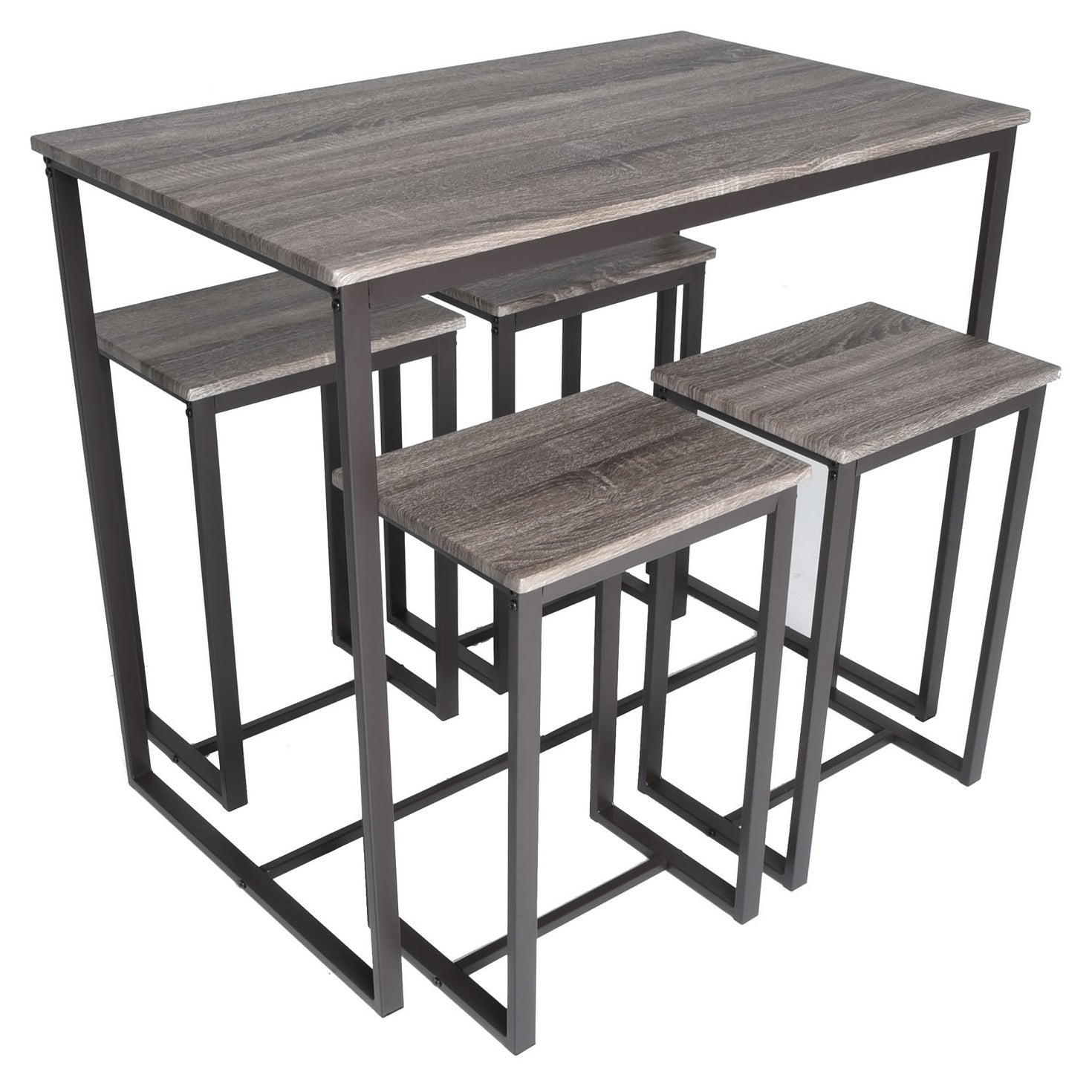 Zenvida 5 Piece Bistro Pub Table Set With 4 Stools