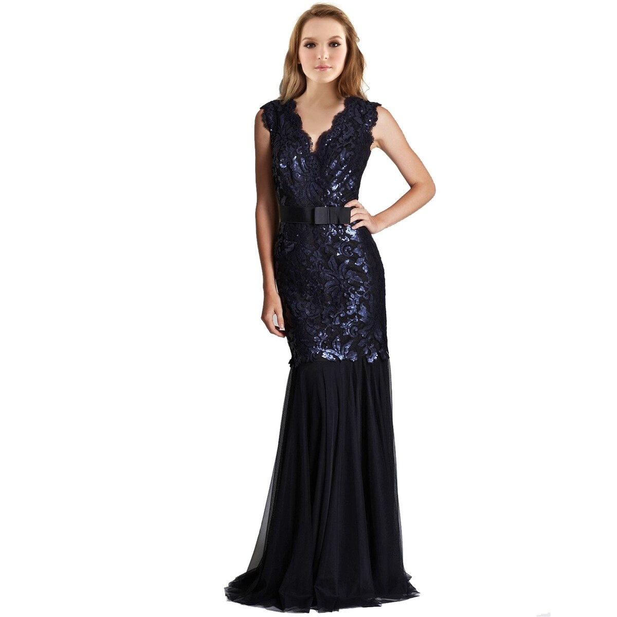 Tadashi Shoji Sequined V-Neck Ribbon Belt Tulle Hem Evening Gown ...