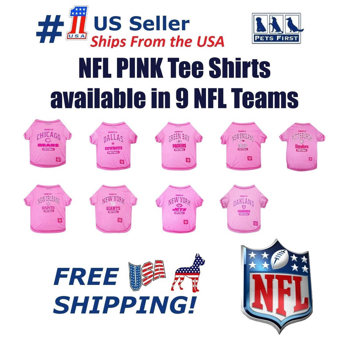 Shop NFL Pink Tee Shirts for DOGS   CATS - Licensed - On Sale - Free ... cdf150a62