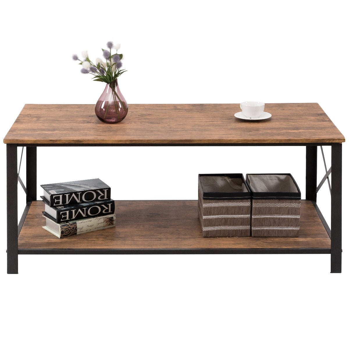 Shop Costway Wood Coffee Table Cocktail Side Accent Table Metal Frame W/  Storage Shelf   Free Shipping Today   Overstock.com   17950514