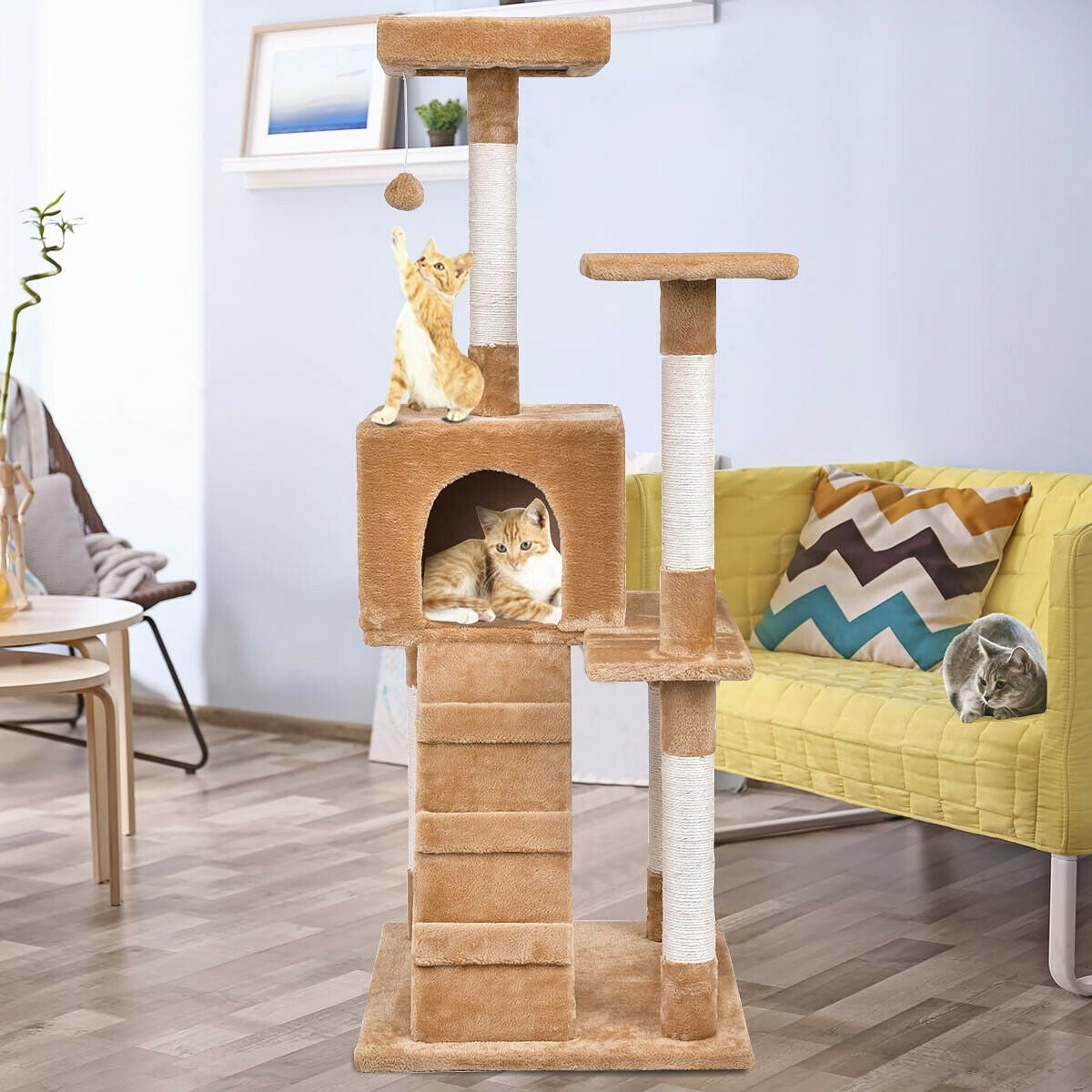 Gymax 52 Cat Tree Tower Condo Furniture Scratching Post Kitty Play House Ladder As Pic