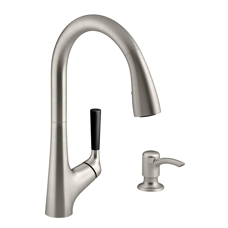 Kohler R562 Sd Vs Malleco Pull Out Kitchen Faucet W Lotion Dispenser St Steel