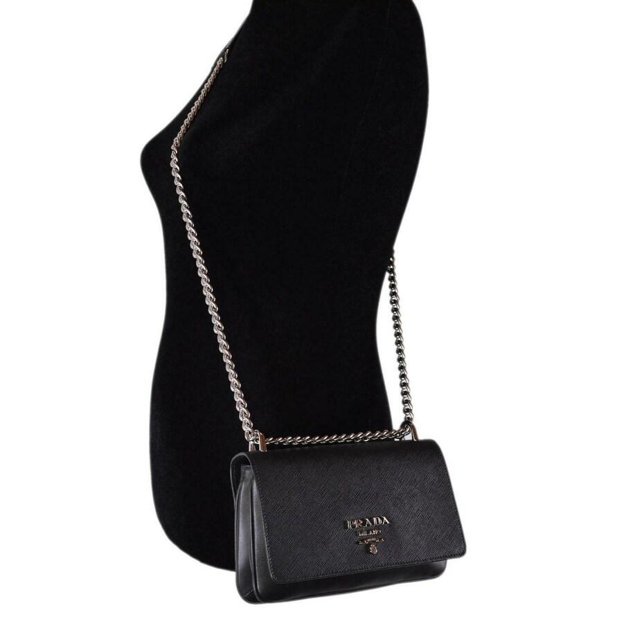 88b6ef280fc9aa Shop Prada 1BD144 Pattina Soft Calf Saffiano Leather Crossbody Small Chain  Purse - Black - Free Shipping Today - Overstock - 27461865