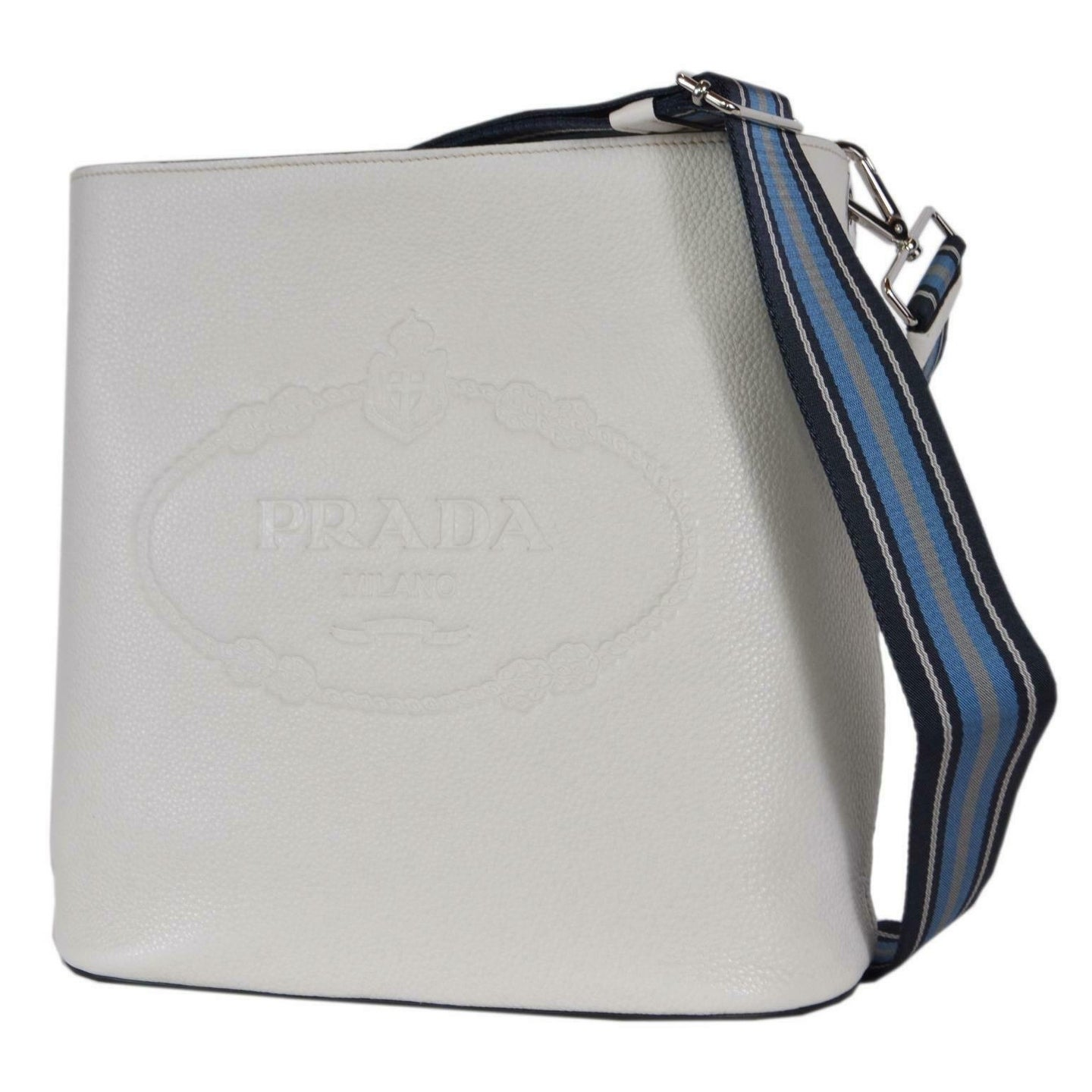 7e1763836bce Shop Prada 1BE023 Vitello Secchiello White Leather Embossed Logo Crossbody  Purse - Talco White - Free Shipping Today - Overstock - 27974280