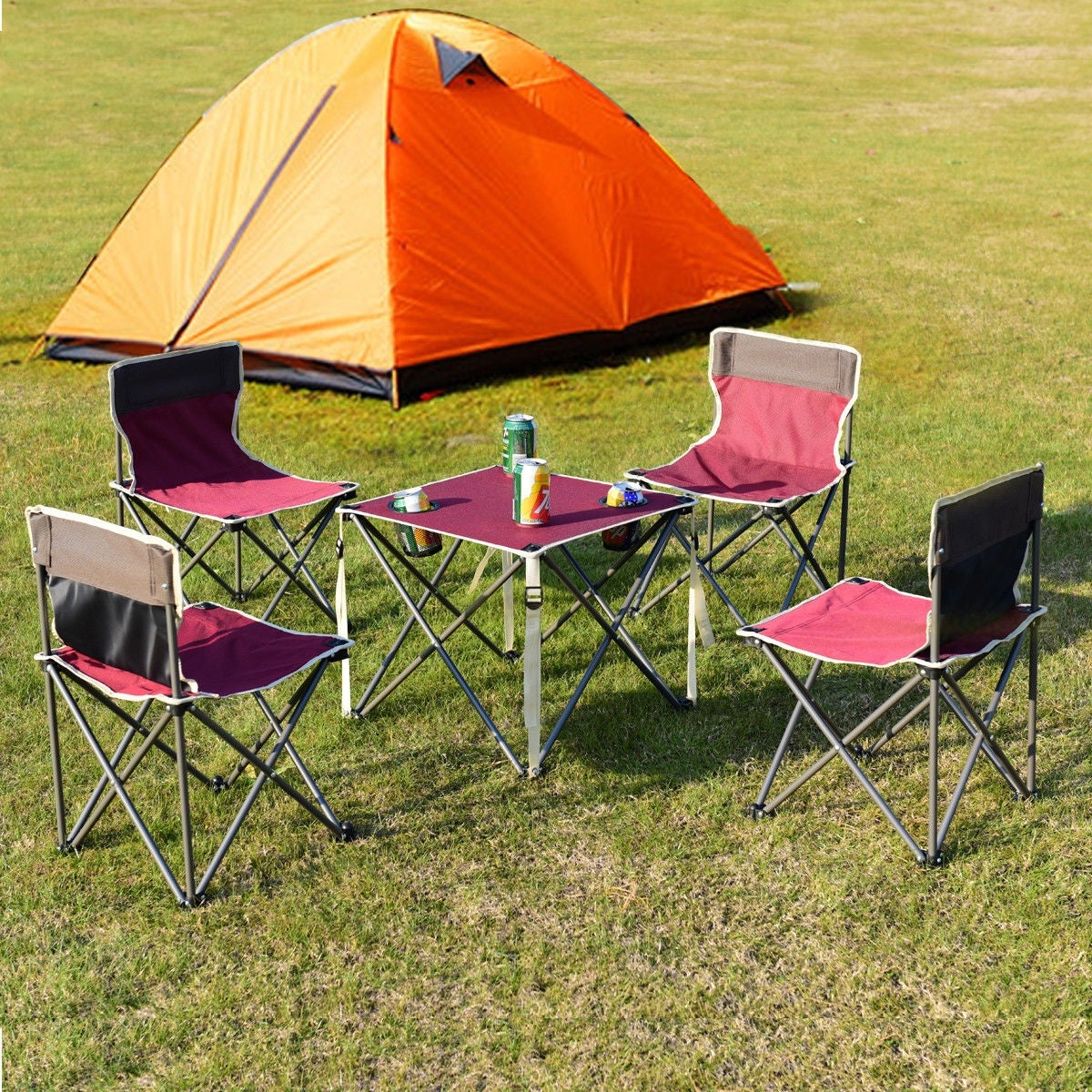Costway Portable Folding Table Chairs Set Outdoor Camp Beach Picnic W Carrying Bag Red On Free Shipping Today 20461955