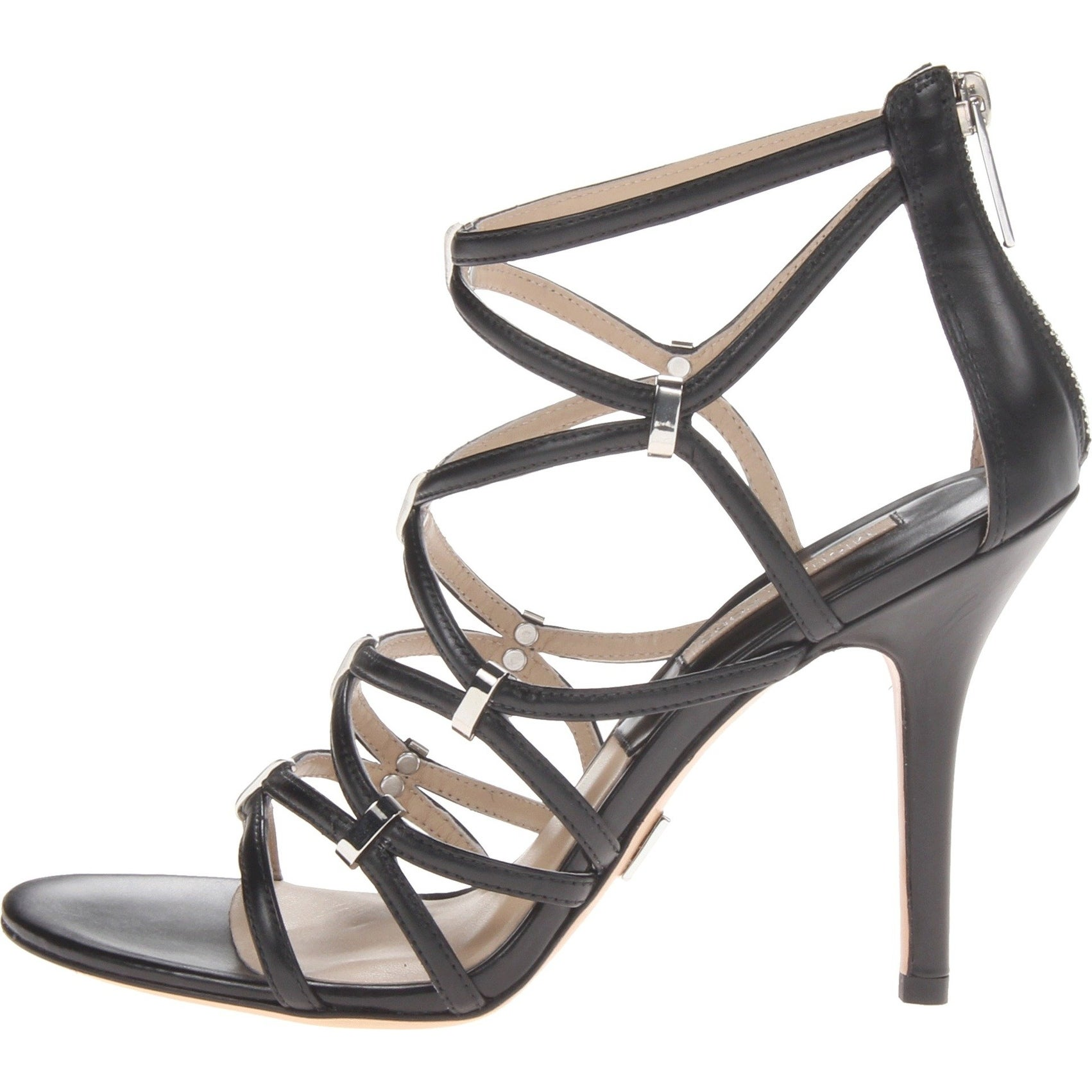 b01fd28405 Shop Michael Kors NEW Black Shoes Size 10M Strappy Leather Heels - Free  Shipping Today - Overstock - 19623626