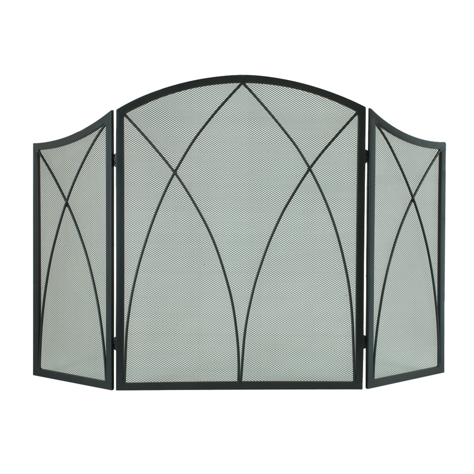 Shop Pleasant Hearth 959 Arched 3 Panel Fireplace Screen Black