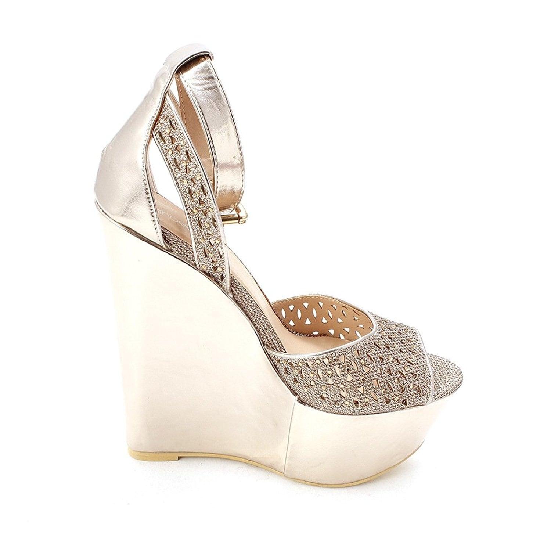 ShoeDazzle Womens Presta Peep Toe Special Occasion Platform Sandals