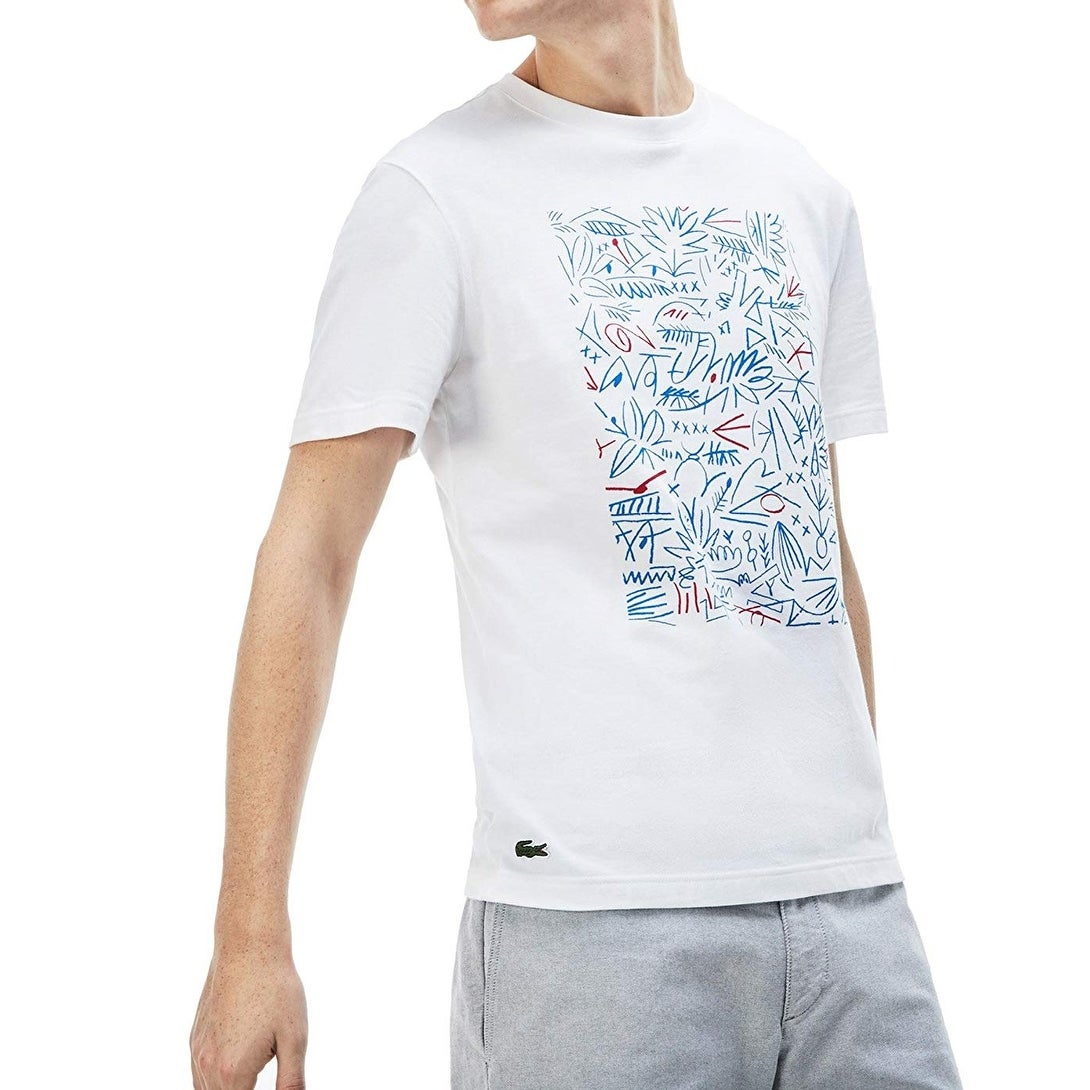7451a399f Shop Lacoste White Mens Size 2XL Short Sleeve Crewneck Graphic T ...