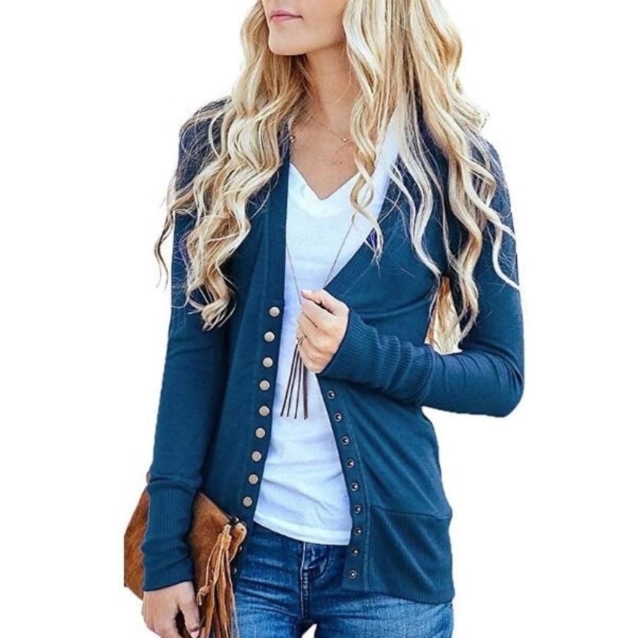 bce818734a6d Shop Women S Cardigan Sweater V-Neck Button Down Knitwear Long ...