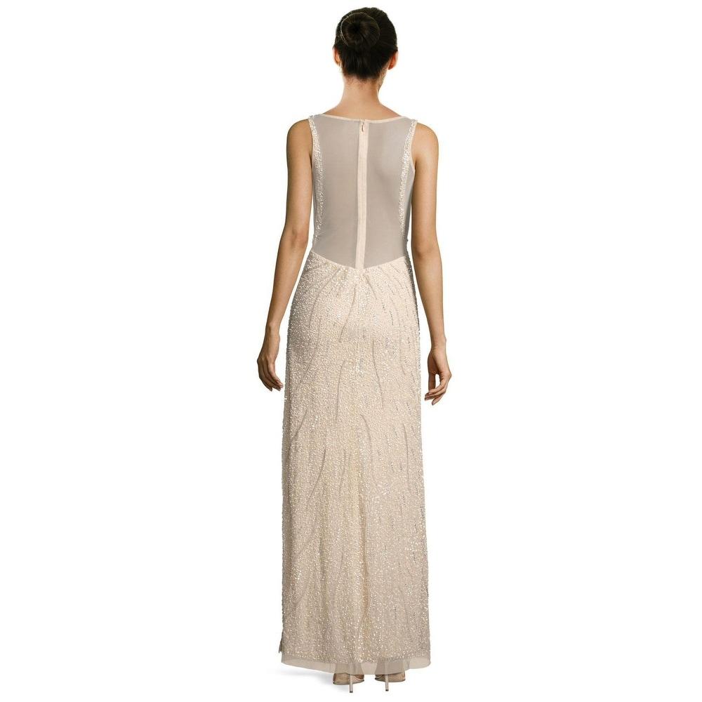 Aidan Mattox Beaded Illusion Low Back Sleeveless Evening Gown Dress ...