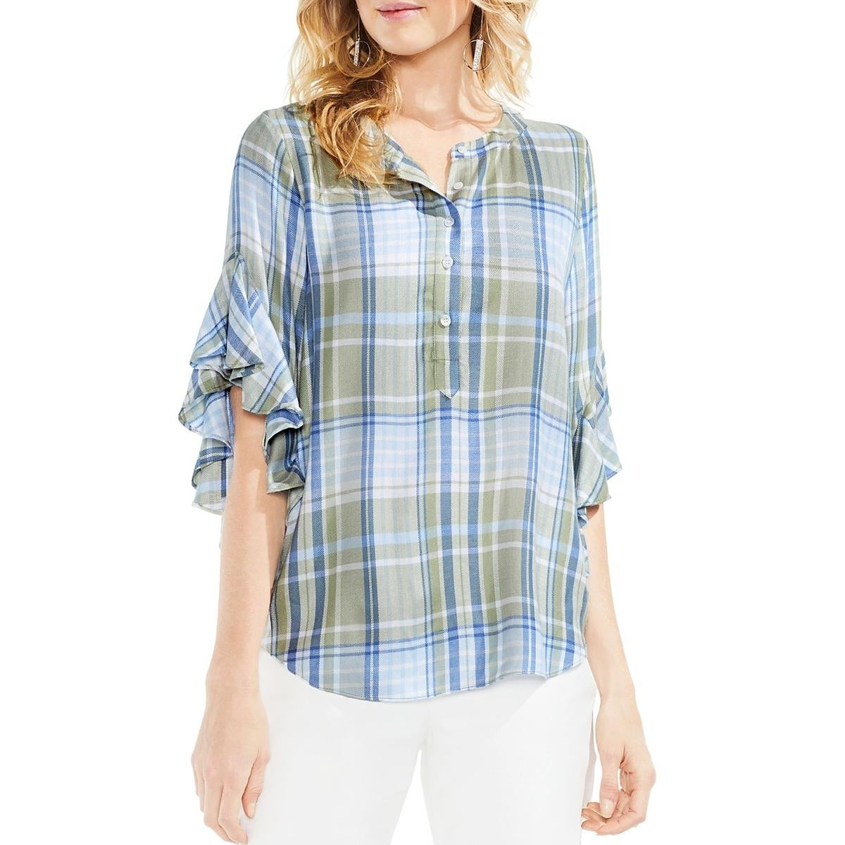 34965dd223872 Shop Vince Camuto Womens Henley Top Country Plaid Ruffle Sleeve - Free  Shipping On Orders Over $45 - Overstock - 26430116