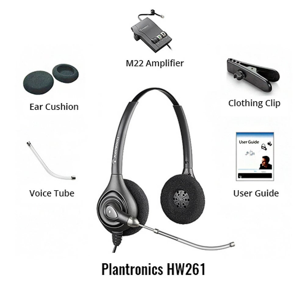 Shop Plantronics SupraPlus HW261 with M22 Amplifier HW261 SupraPlus  H-Series Binaural - Free Shipping Today - Overstock.com - 19555547