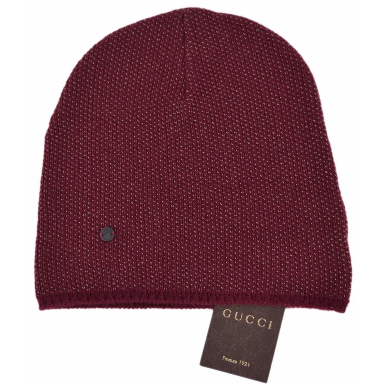 bd9da6bbcef Shop Gucci 352350 Men s Burgundy Beige Wool Cashmere Beanie Ski Winter Hat  XL - Extra Large - Free Shipping Today - Overstock - 12037013