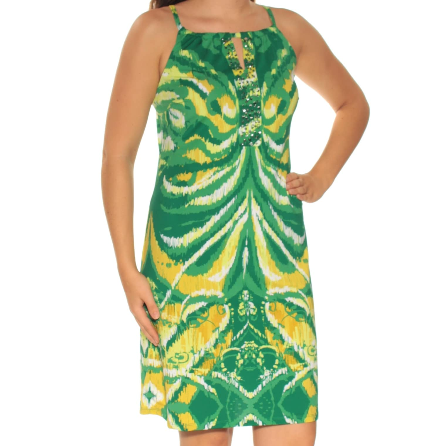 Shop Womens Green Spaghetti Strap Above The Knee Shift Casual Dress