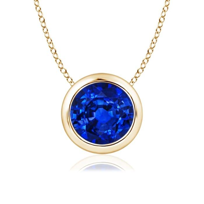 Angara Bezel-Set Round Blue Sapphire Chain Necklace wbYkJ5
