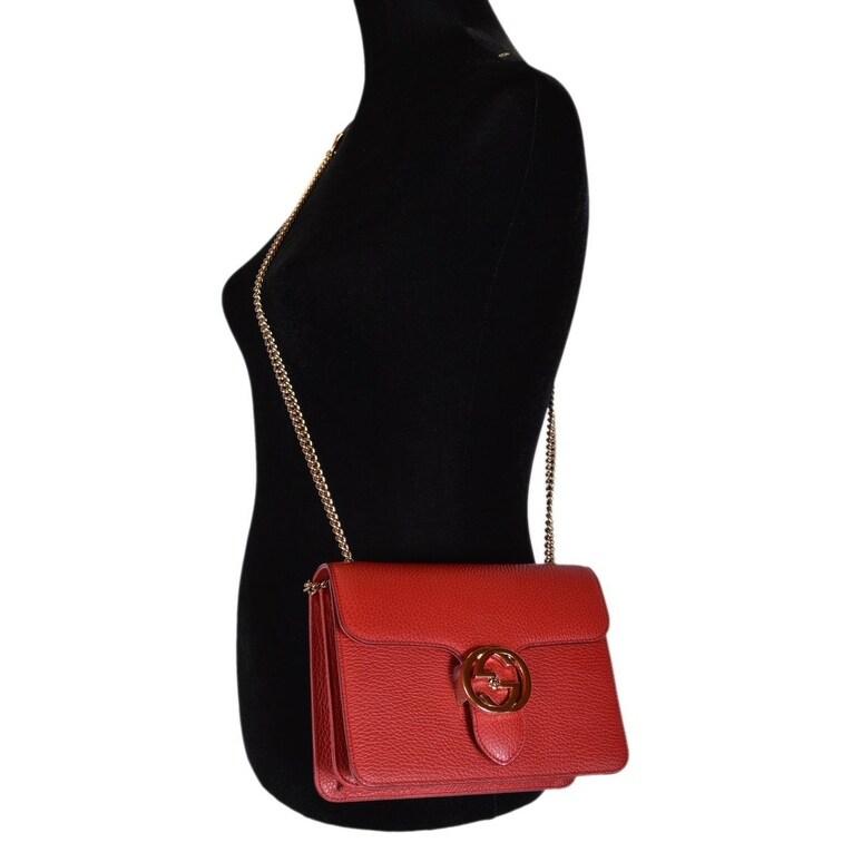 ab93d0c36e39f Shop Gucci Women s Red Leather 510304 Interlocking GG Crossbody Purse  Handbag - 7.75