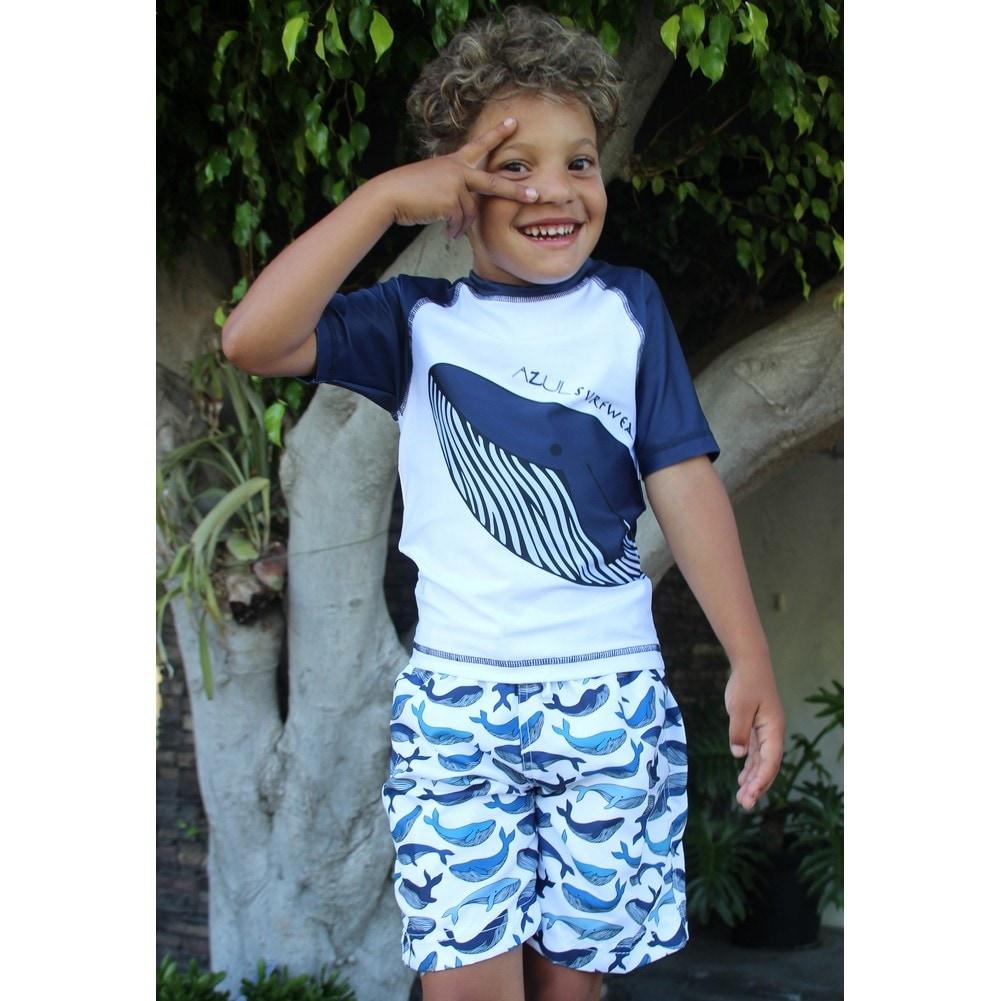 ... new product a4fe1 4161e Shop Azul Little Boys White Blue Moby Short  Sleeve Rash Guard ... 3728674ea