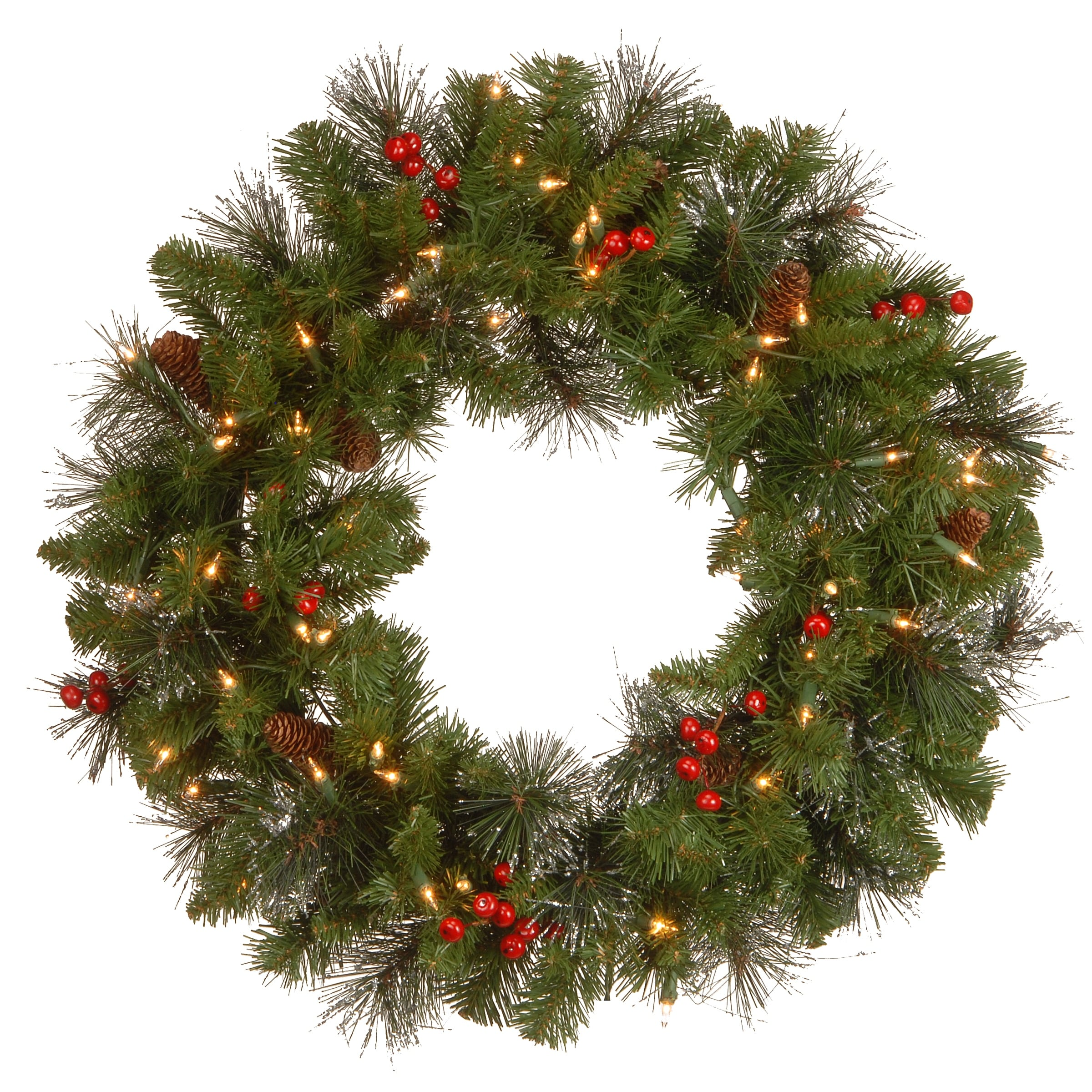 Prelit Christmas Wreath.24 Pre Lit Crestwood Spruce Artificial Christmas Wreath Clear Lights Green
