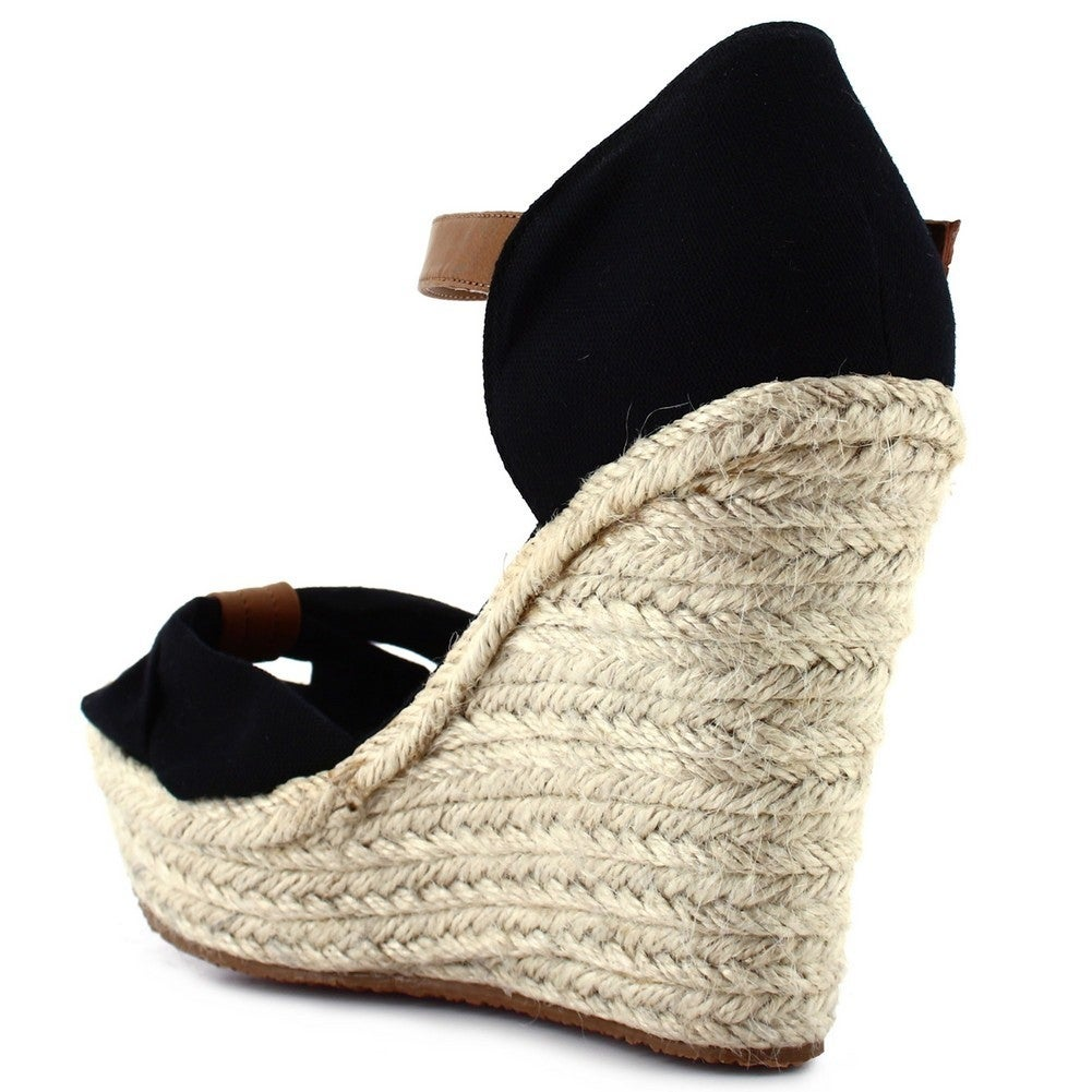 a1a0588cdfa8 Shop Ceresnia Adult Black Ankle Strap Closure Wedge Trendy Sandals - Ships  To Canada - Overstock - 18823698