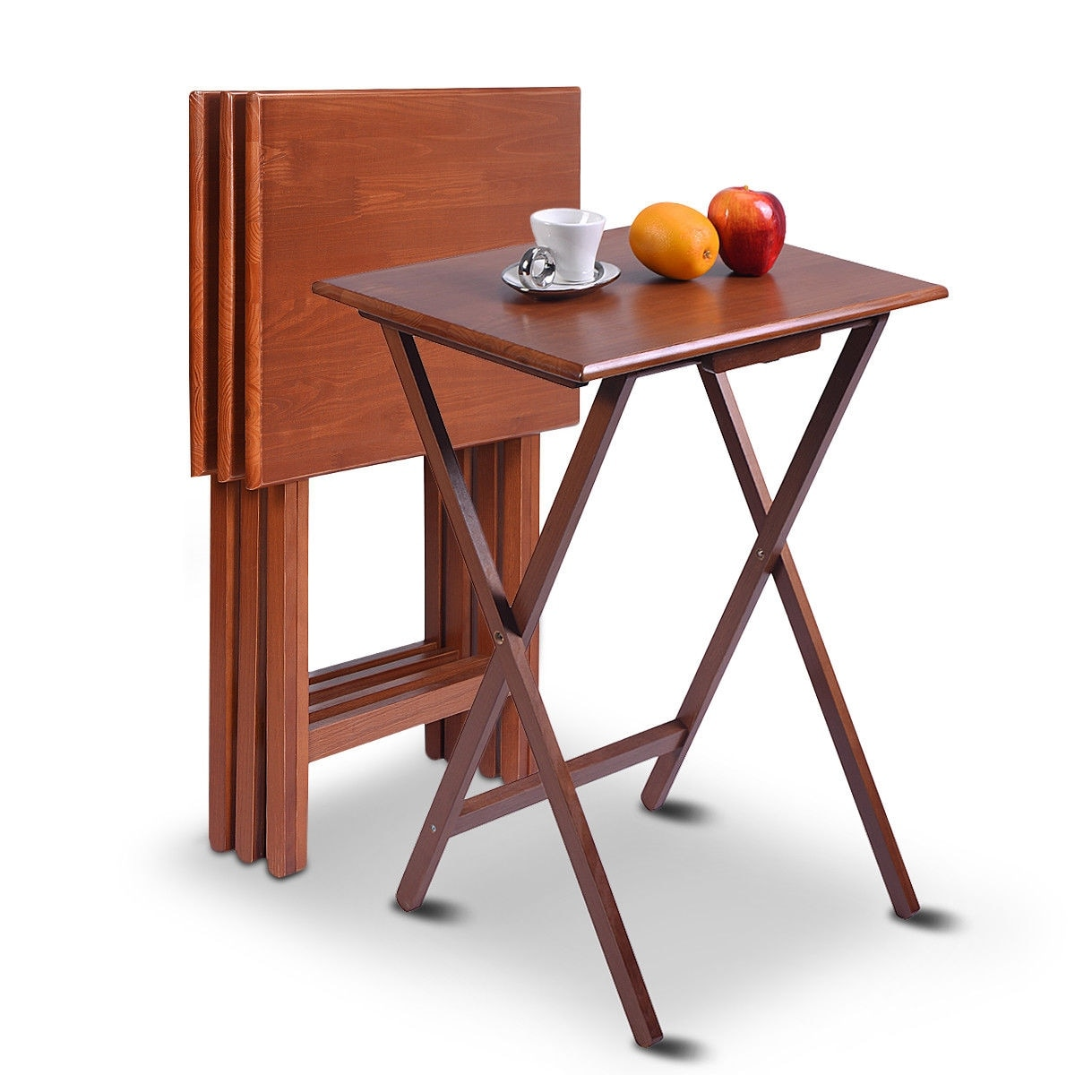 Costway set of 4 portable wood tv table folding tray desk serving furniture walnut