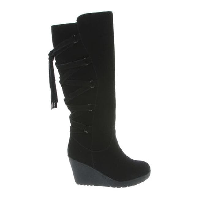 4e70f494332 Shop Bearpaw Women s Britney Knee-High Wedge Boot Black II Suede - Free  Shipping Today - Overstock - 17955968