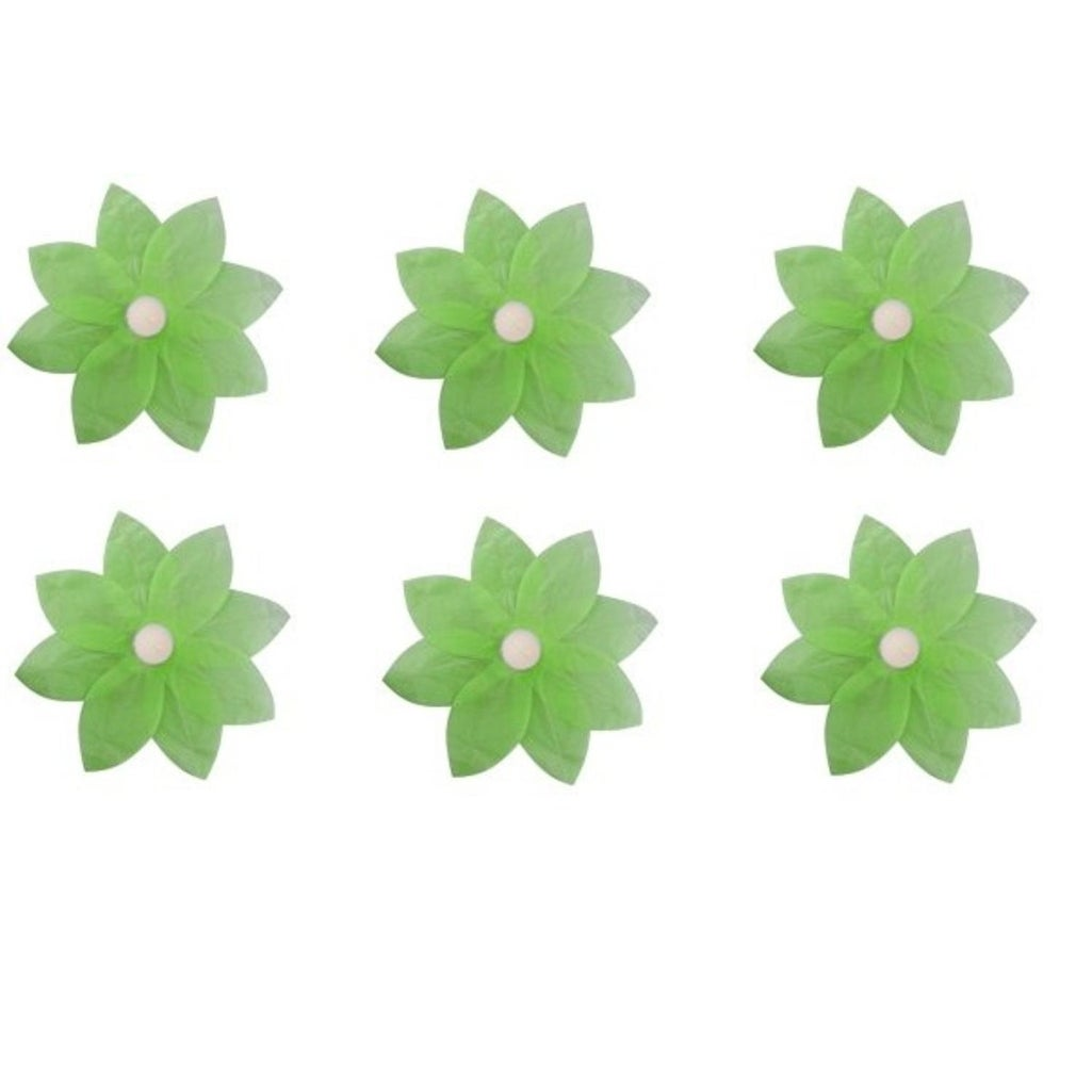 Pack Of 6 Green Floating Lotus Paper Flower Outdoor Patio Decor