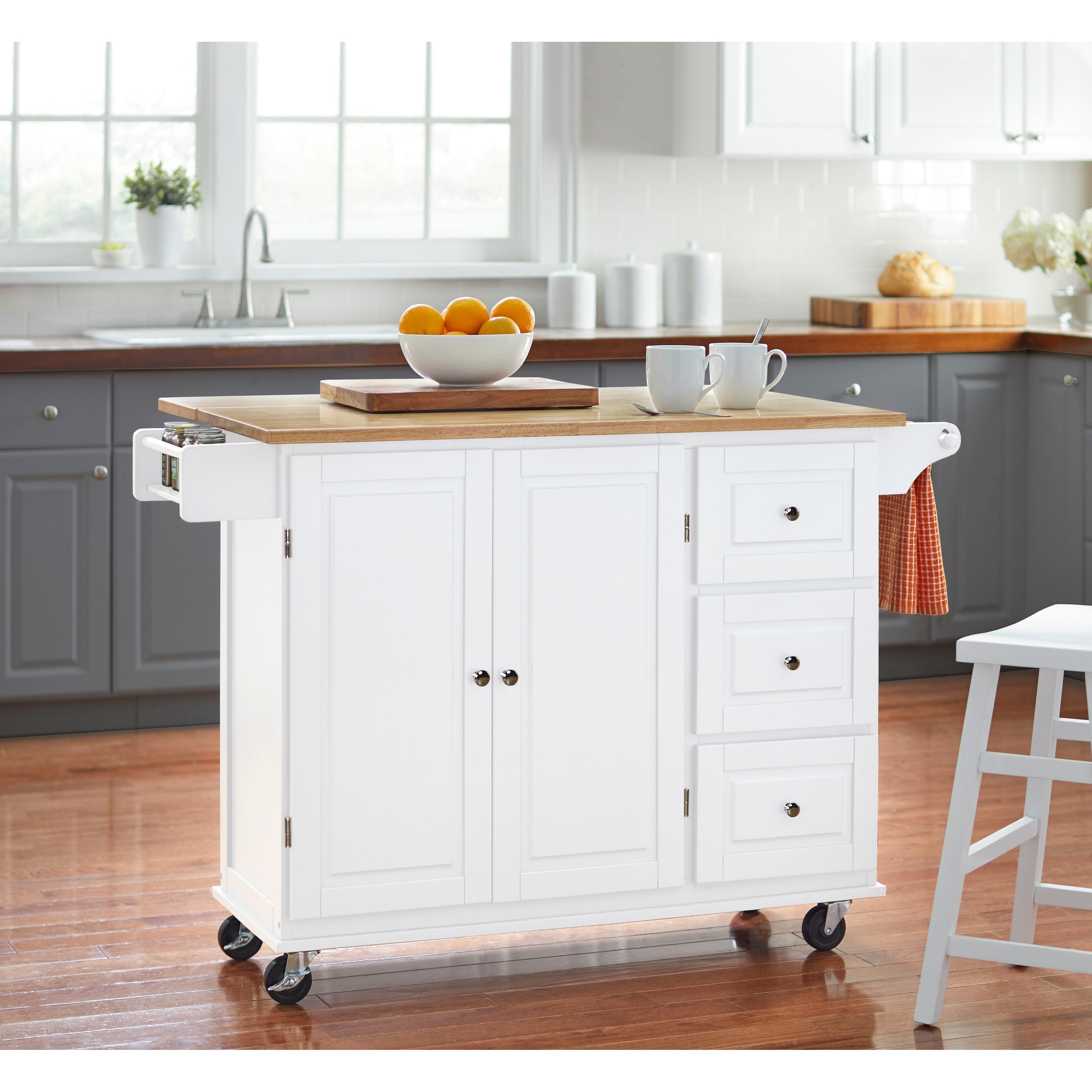 3 Drawer Drop Leaf Kitchen Cart Overstock 20602808