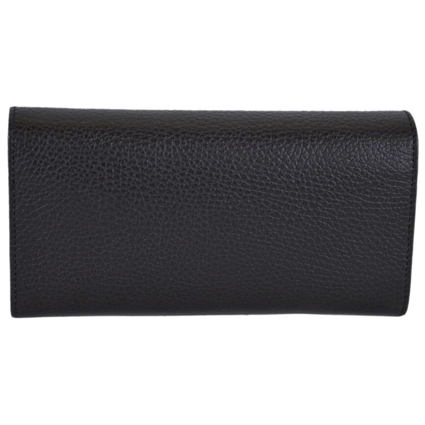 27316956169 Shop Gucci Women s 354496 Black Textured Leather Trademark Logo Swing  Wallet - 7.5