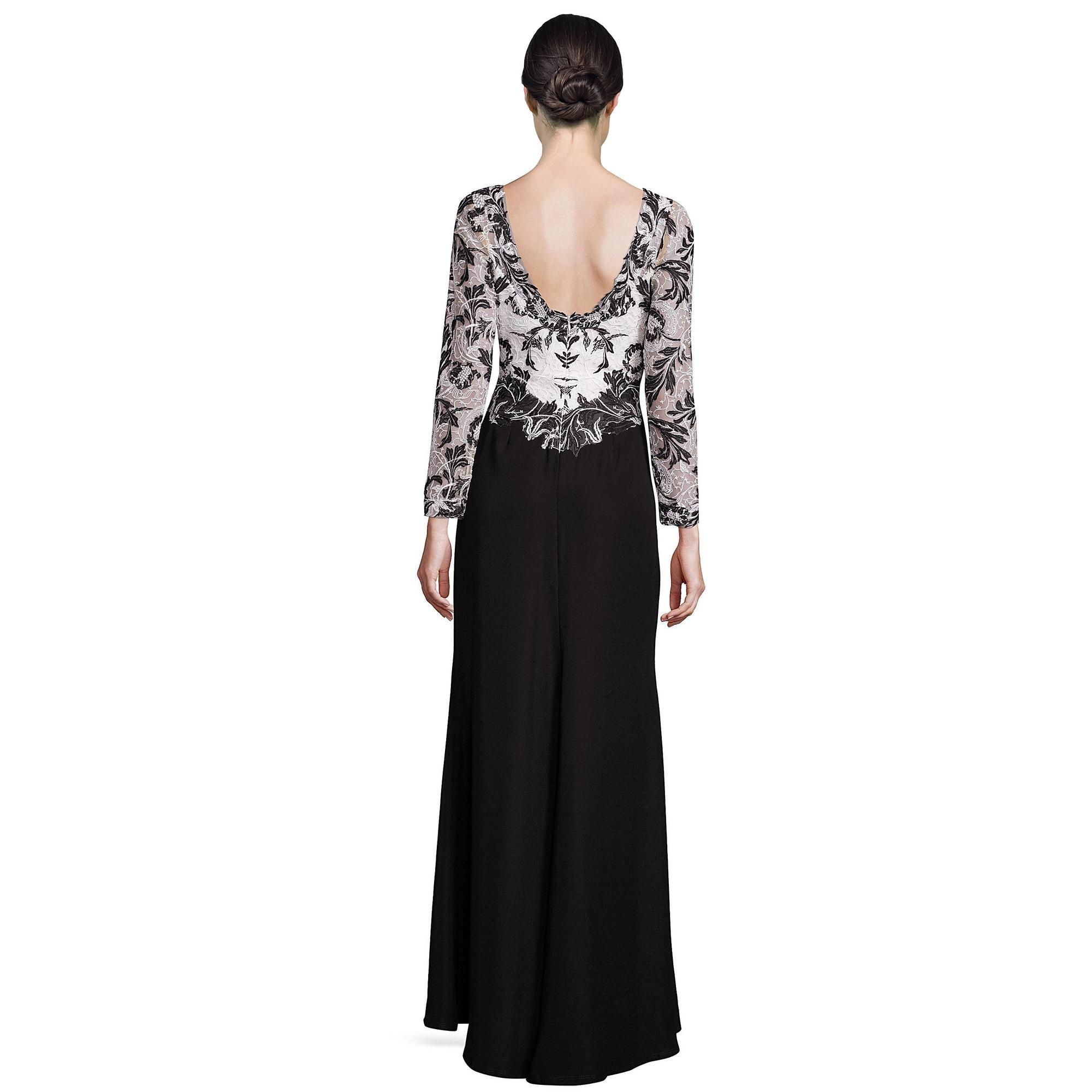 Shop Tadashi Shoji Lace Bodice Contrast Long Sleeve Evening Gown ...