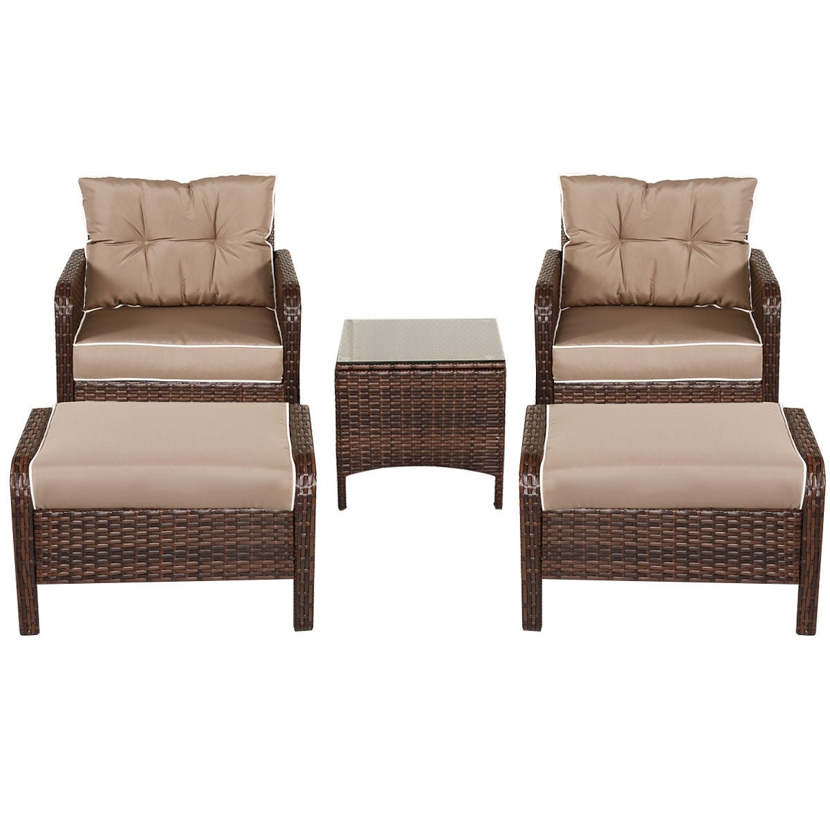 Costway 5 PCS Rattan Wicker Furniture Set Sofa Ottoman W/Brown Cushion  Patio Garden Yard   Free Shipping Today   Overstock   22839716