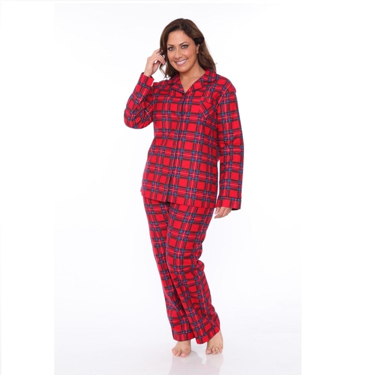 40e6b2cc19 Shop Plus Size Flannel Pajama Set - Red Plaid - On Sale - Free ...