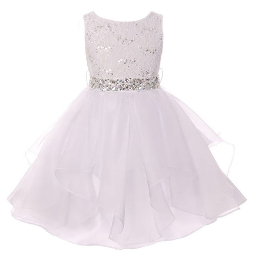 Shop Girls White Lace Crystal Tulle Ruffle Flower Girl Dress Free