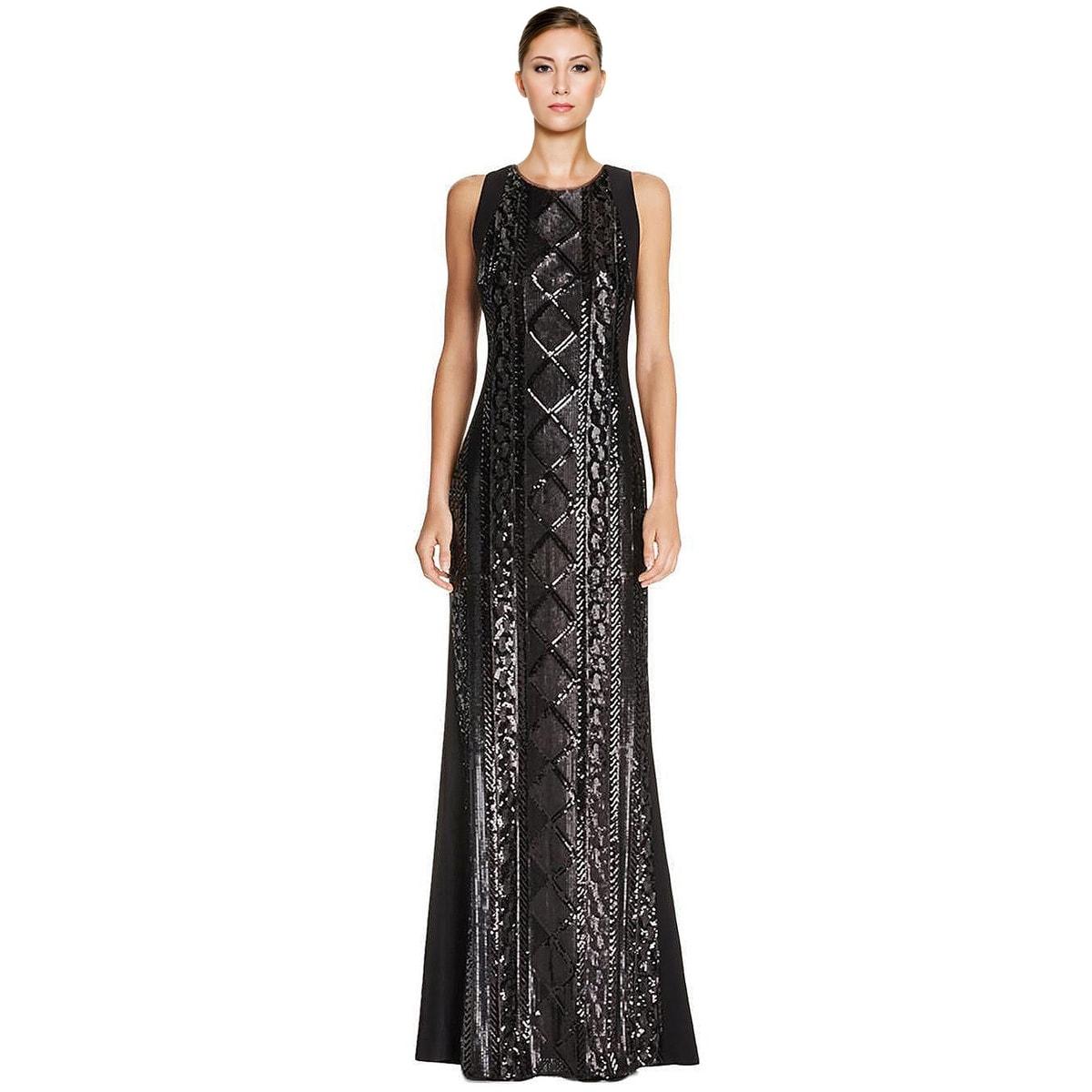 Shop Adrianna Papell Geometric Sequin Embellished Sleeveless Evening ...