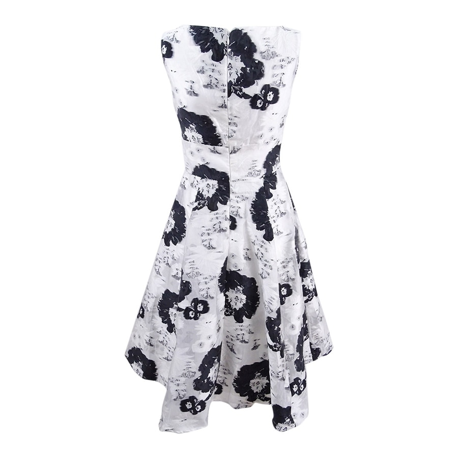 1986ae779fe Shop Betsey Johnson Women s Floral Jacquard Fit   Flare Dress - Black White  - On Sale - Free Shipping Today - Overstock - 24253991