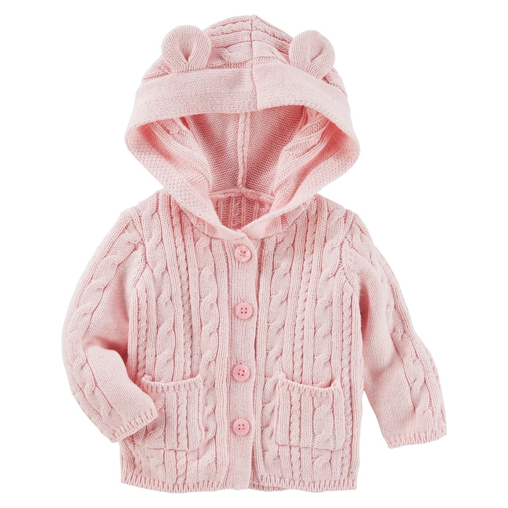 3d980384f6f4 Shop Carter s Baby Girls  Cable-Knit Hooded Jacket