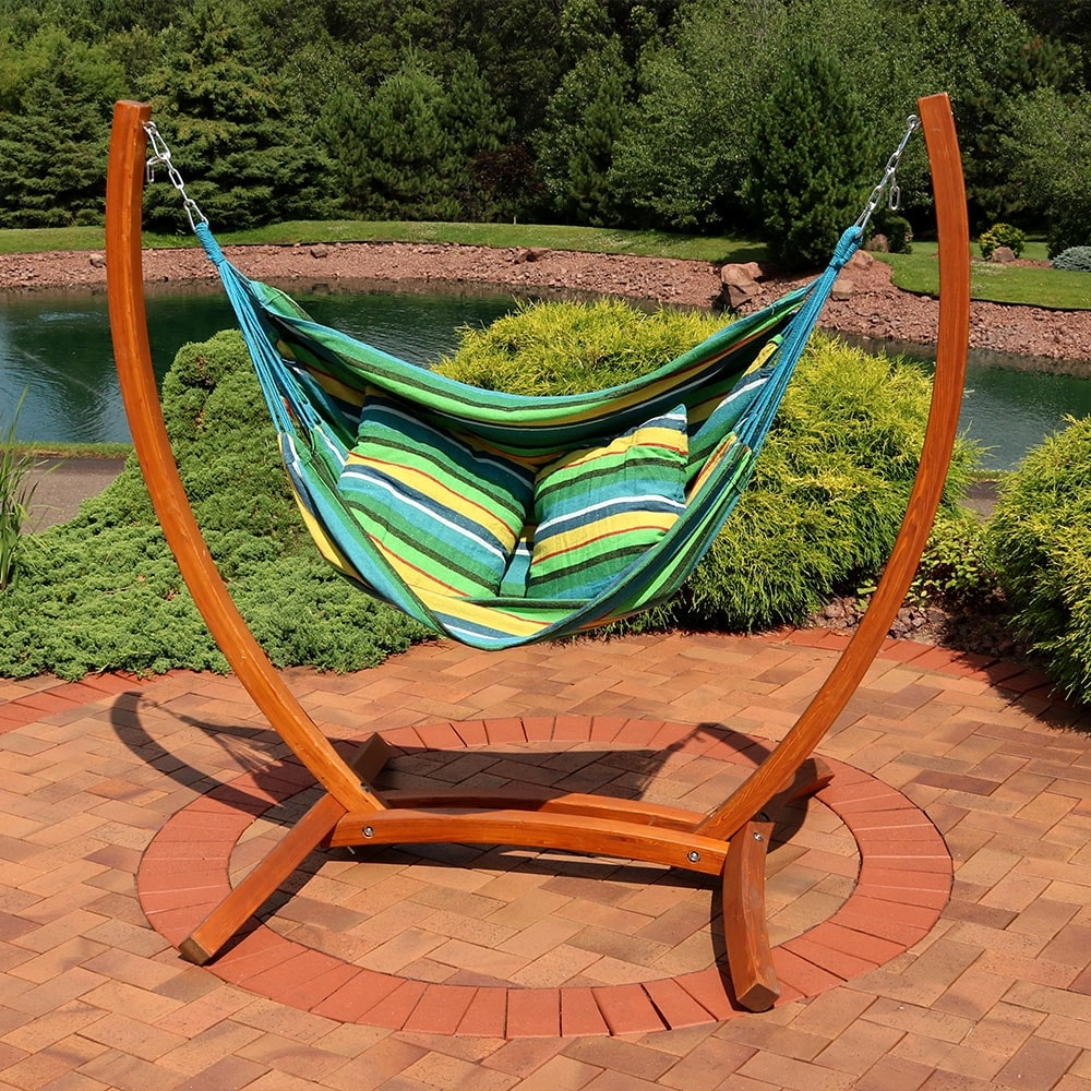 Sunnydaze Hanging Hammock Chair Swing With Wooden Stand Ocean Breeze
