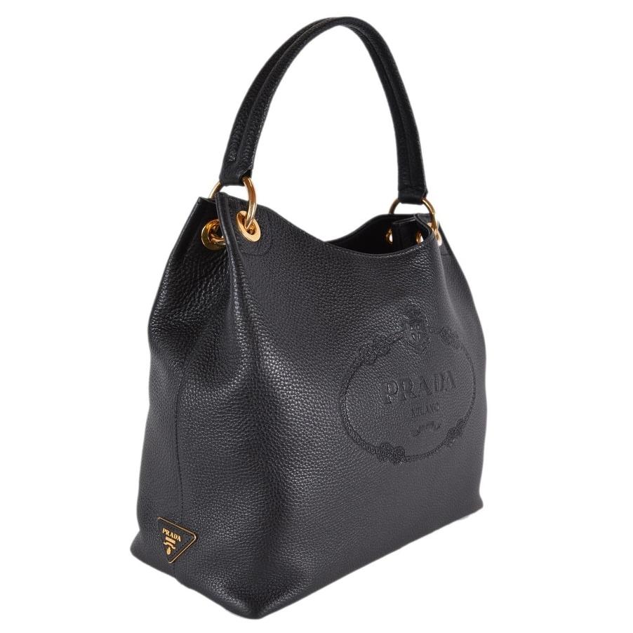 01419ee7a5322b Shop Prada 1BC051 Black Leather Vitella Daino Embossed Logo Handbag Purse  Tote - Free Shipping Today - Overstock - 26172517