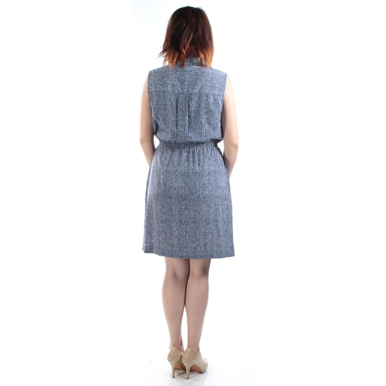 Shop Alfani Womens Navy Printed Sleeveless Collared Above The Knee
