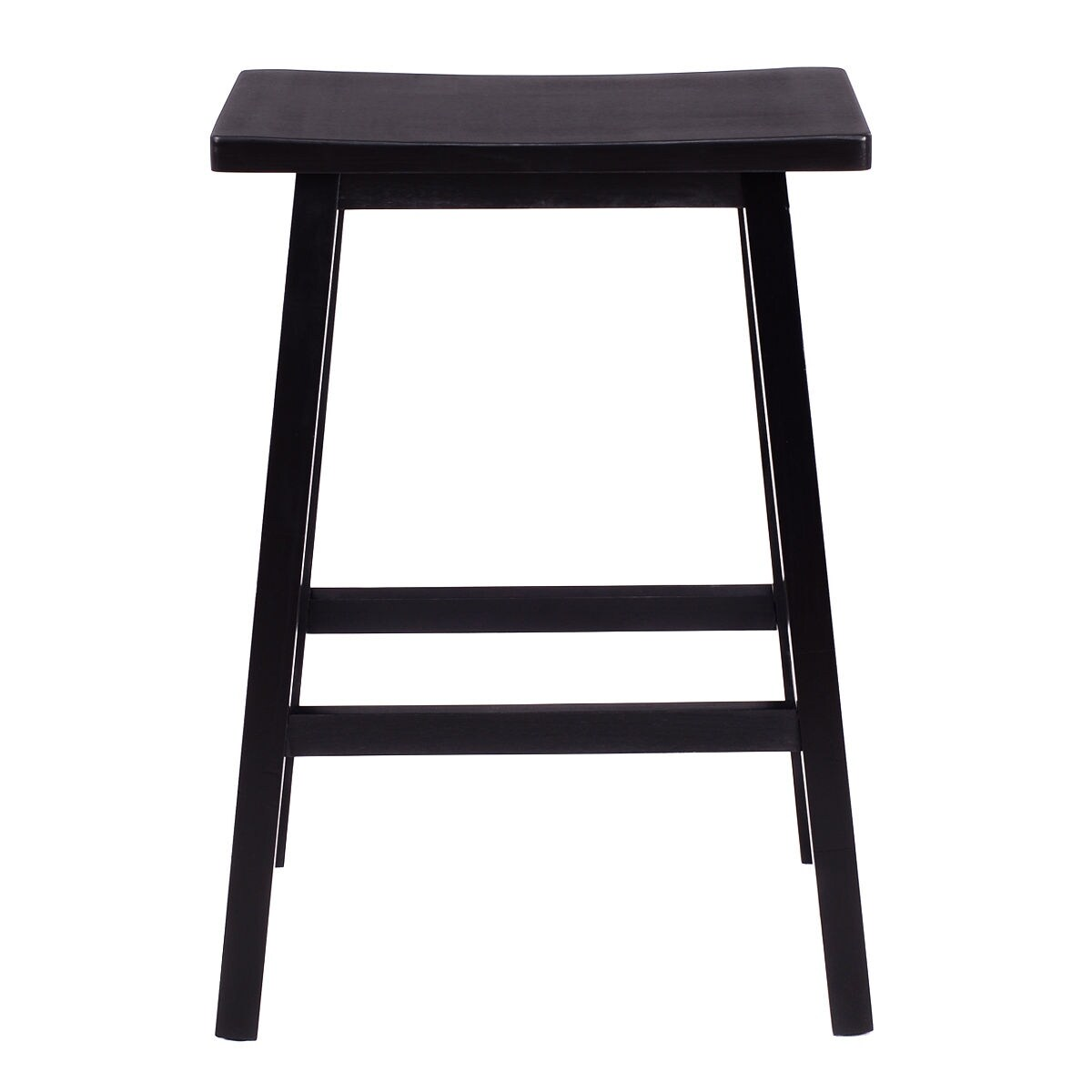 Costway Set of 2 Saddle Seat 24\'\' Bar Stools Wood Bistro Dining ...
