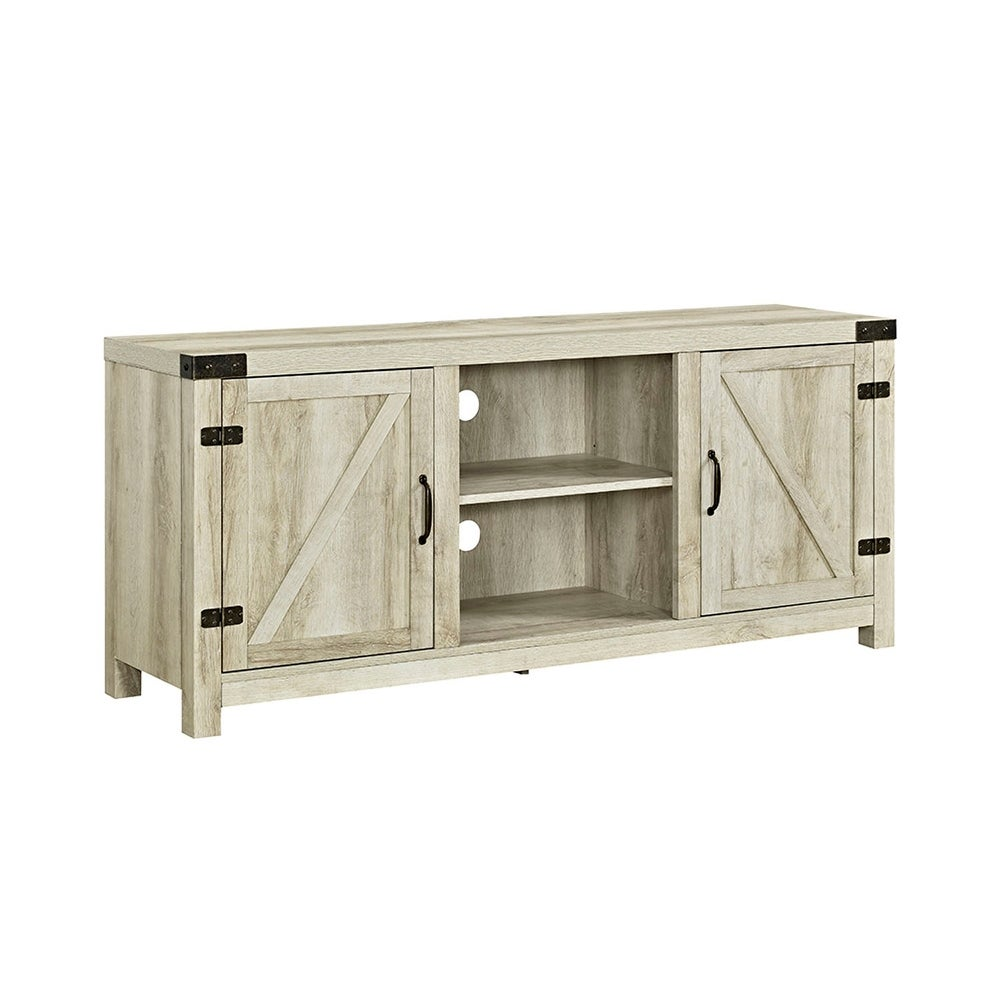 Shop Offex 58 Barn Door Tv Stand With Side Doors White Oak Free