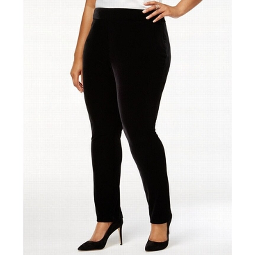 4fe4d72aced Shop Tahari ASL Black Womens Size 22W Plus Velour Flat Front Pants - Free  Shipping On Orders Over  45 - Overstock.com - 27011760